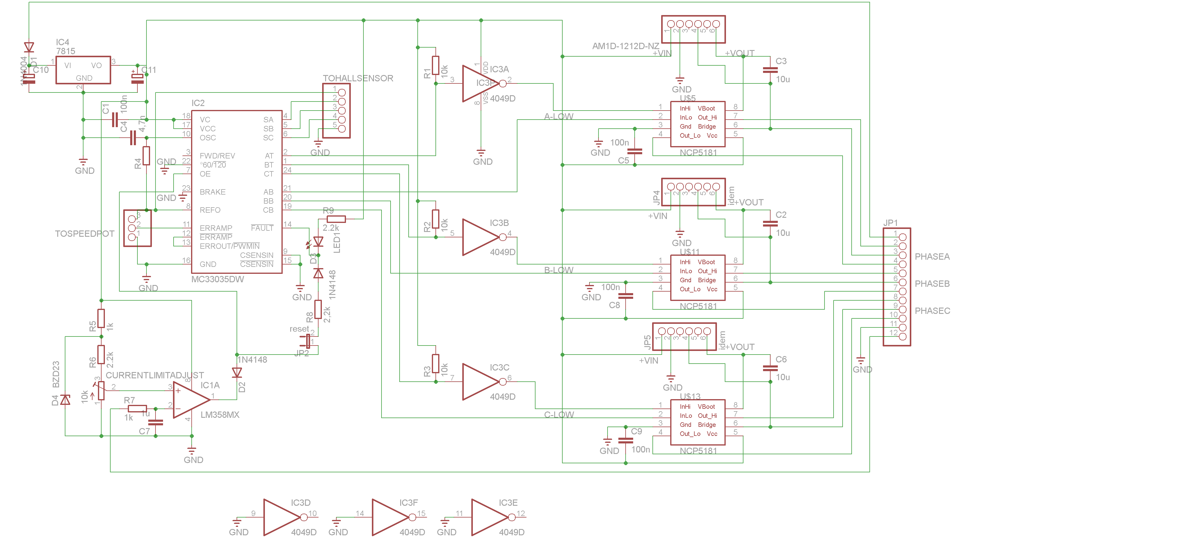 The Brushless motor Controller Schematic: (command module)
